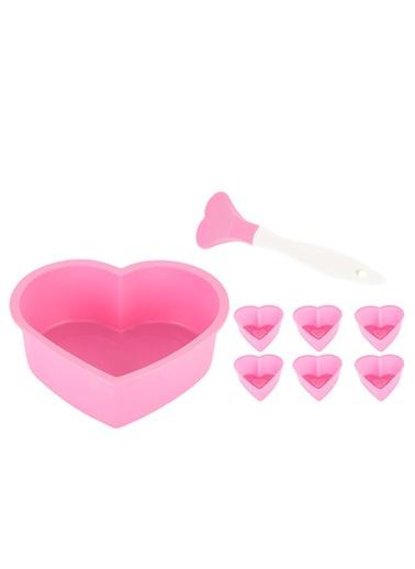 Silikon Pembe Kalp Şekilli 8li Kek Seti-Tantitoni